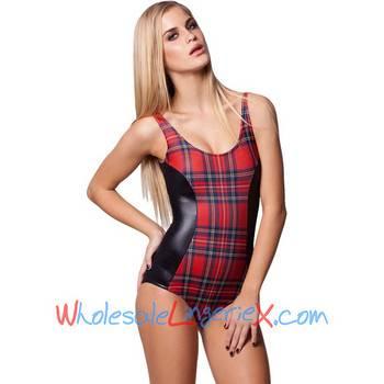 Wholesale 2014 Women's One Piece Red &Black Tartan Vs Wet Look Swimwear OPM539