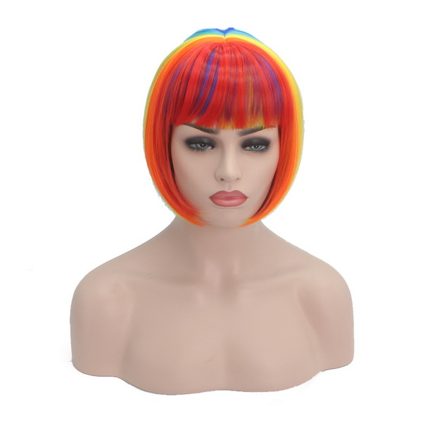 Colorful Hair Wigs, Rainbow Color Wigs, Hair Wigs for Fashion Girl