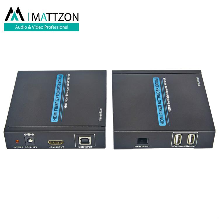 Mattzon 20km HDMI Over Fiber Extender with KVM+IR,HDMI 1.3/HDCP1.1&1.2