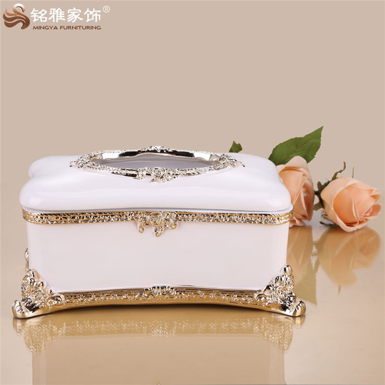 European Style decorative Tissue Box resin crafts for home decoration