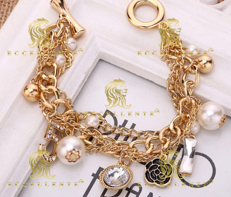 Multi Layer Pearl Bracelet Small Flower Euramerican Heavy Metal Chain Jewelry