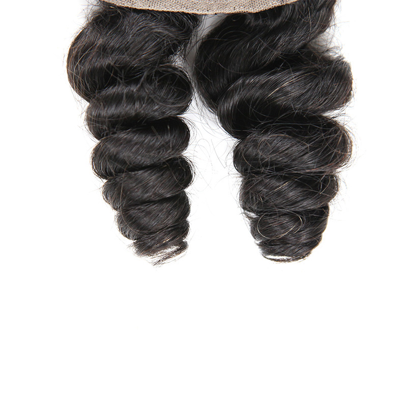 9A Indian Loose Tight Human Virgin Hair Weave 4 Bundles With Lace Closure