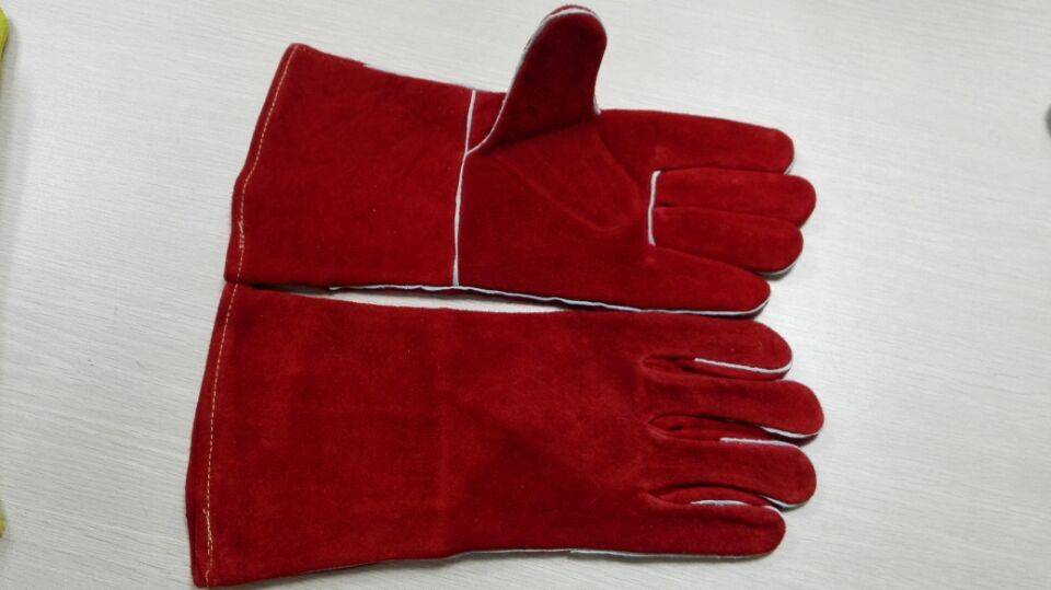 Welding gloves,red cowsplit leather