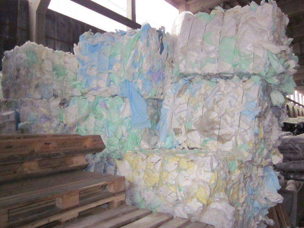 Shredded diapers (Adult and baby) in bales.