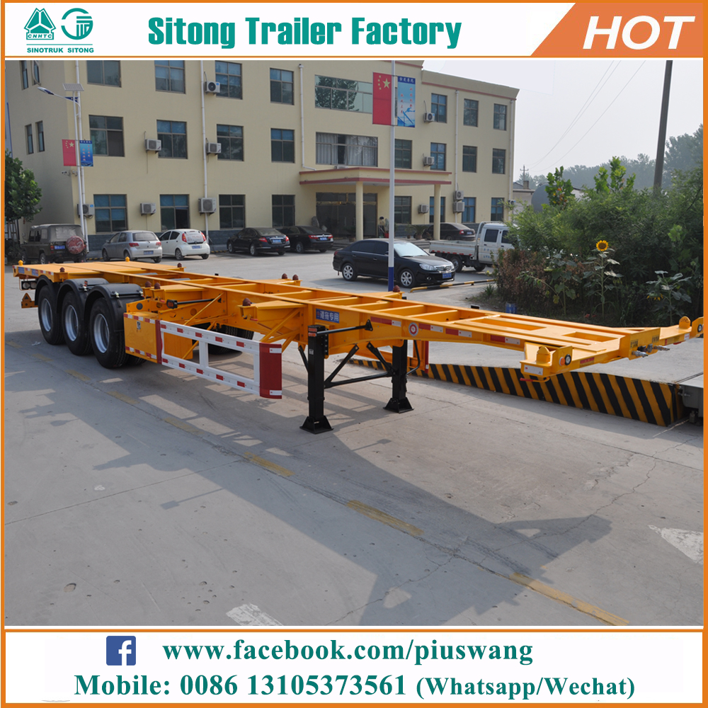 China leading factory 3 axle shipping container trailer 20ft 40ft skeletal chassis semi trailers
