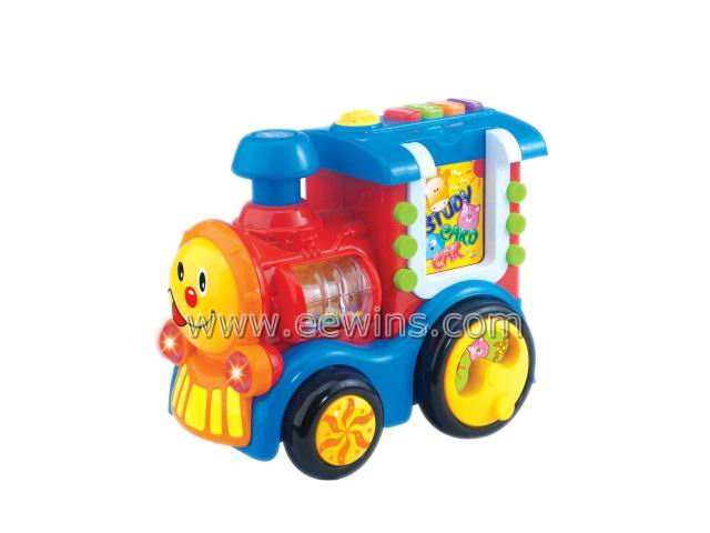 Toys train insert card learning machine with study, test, music, repeat function