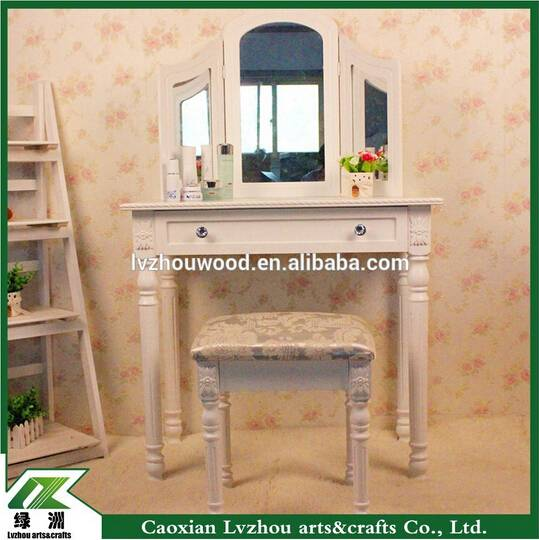 Cheap bedroom white wooden make up vanity table