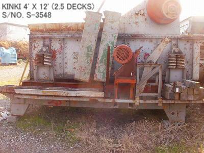 "USED ""KINKI"" HORIZONTAL TYPE 4' X 12' VIBRATING SCREEN S/NO. S-3548 (2.5 DECKS) WITH MOTOR"
