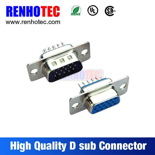 PC Accessories-Dip Solder VGA 2-PACK 180 0 Degree Male and Female 15 Pin D-Sub Connector