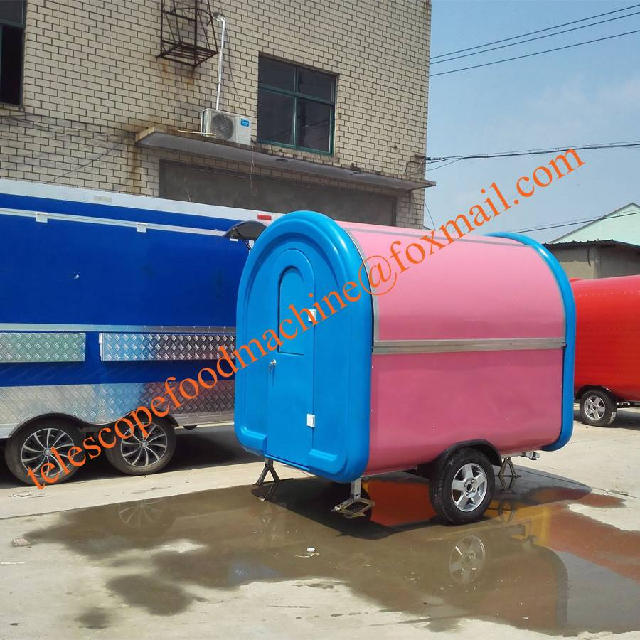 Pink color mobile food cart fyer fast food trailer flat grill food truck trailer coffee van hot dog
