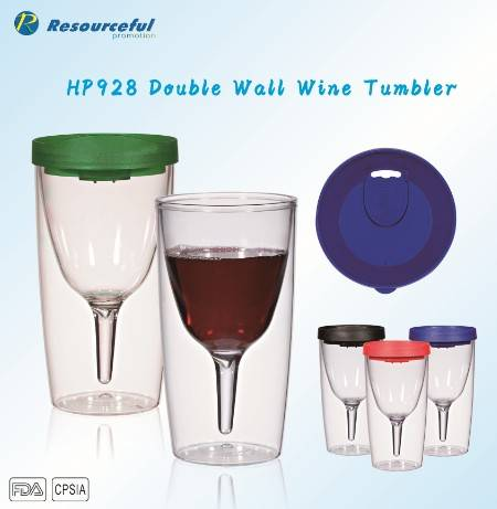 Double wall wine tumbler/wine cup/eco-friendly cup/plastic wine cup/Halloween gift,wine cup/plastic