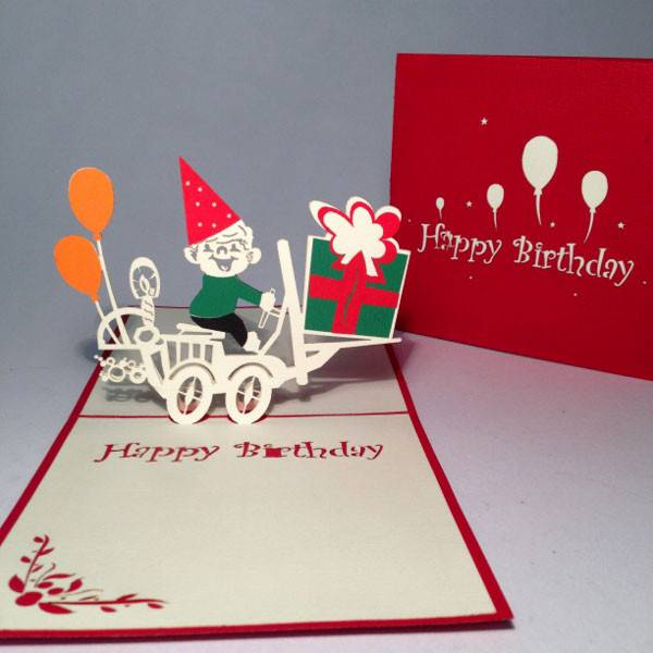 A boy deliver gift 3D pop up greeting card