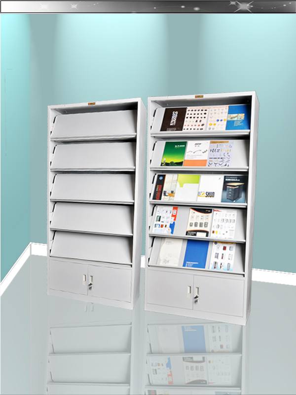Modern knock down structure display wall magazine racks with storage cabinet