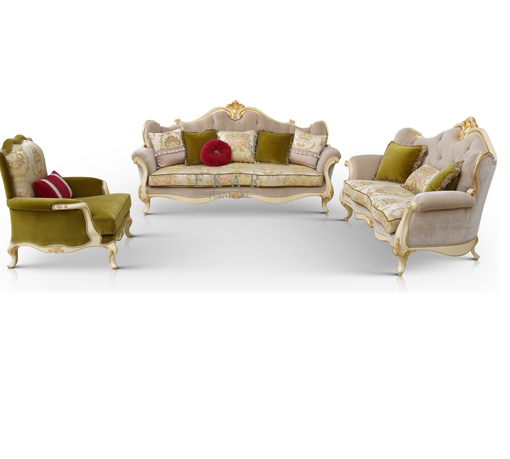 Neo - Classical Set Living Room Furniture Wooden Design And Price Sofa Fabric