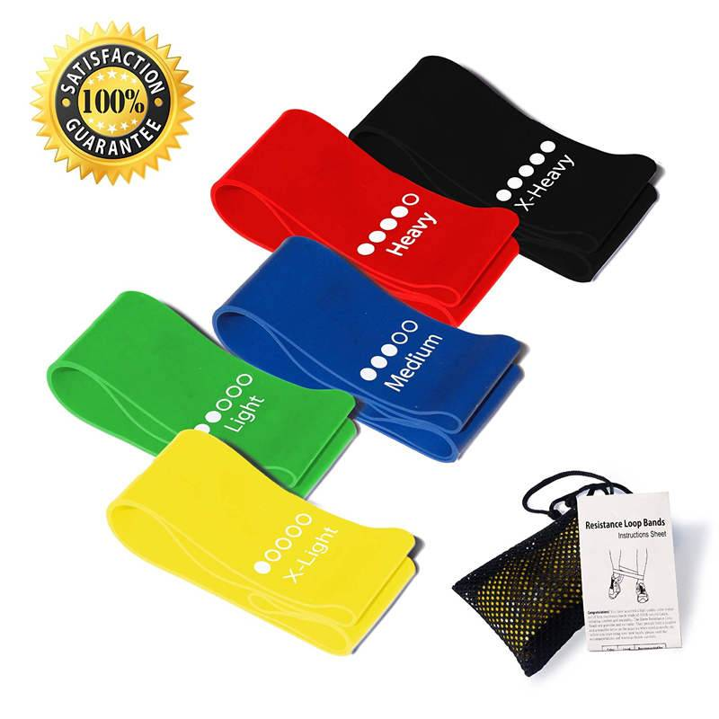 Exercise Resistance Loop Bands-Set of 4 Strength Performance Bands-Great for Physical Therapy-Fitnes