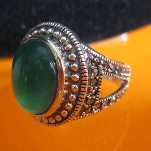 Thai silver agate ring,Thai silver jewelry,gemstone ring,marcasite ring