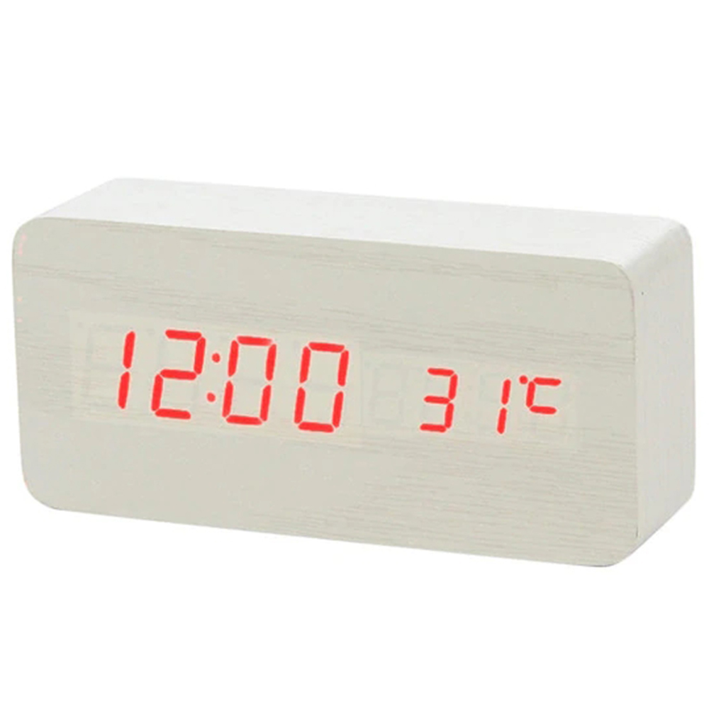 LED Clock Wooden Digital Alarm Clock with Temperature Thermometer