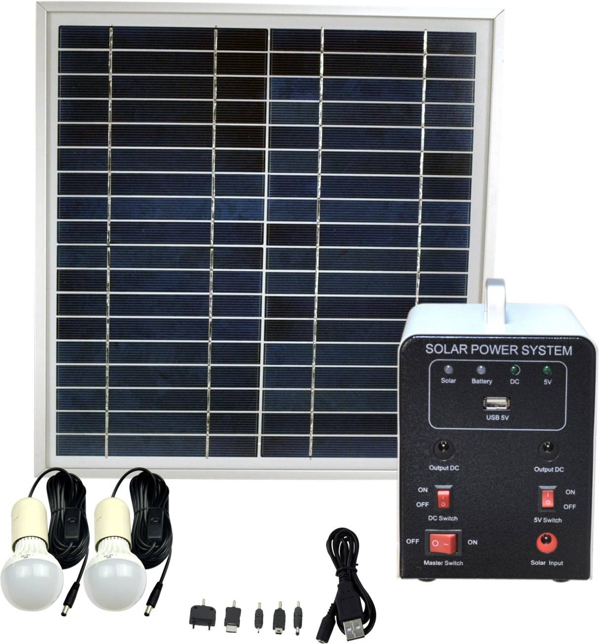 Portable 8W Solar Panel System Kit with 4.5AH AGM Battery for Lighting Mobile Phone Charging