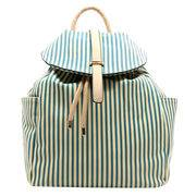 Fashion ladies backpackmade of PU leather, stripe printed,drawstring&magnetic snap closure