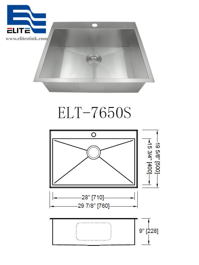 Topmount Stainless Steel Sink with Faucet Hole