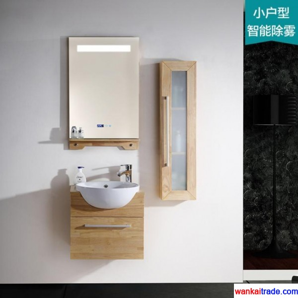 Environmental protection new style oak bathroom vanity, lamp mirror with intelligent mist removing