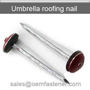 Roofing nails with red cap
