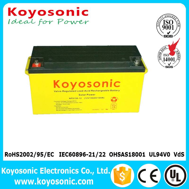 12V 150AH Sealed Lead Acid Battery Valve Regulated Rechargeable Solar Battery