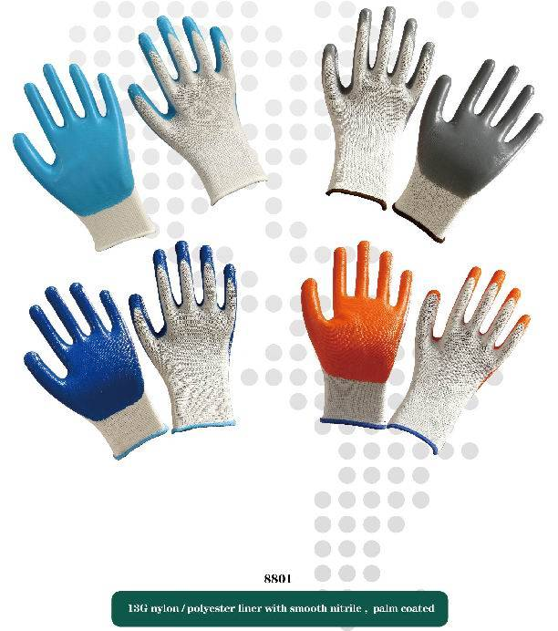 13G nylon liner with smooth nitrile working safety gloves