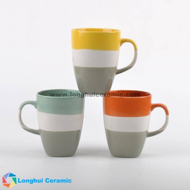 Creative three color glaze ceramic coffee mug series