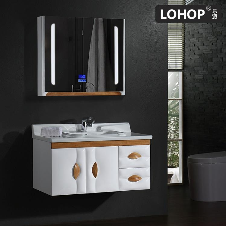New style PVC solid wood bathroom vanity , mirror cabinet with LED touch lamp mirror