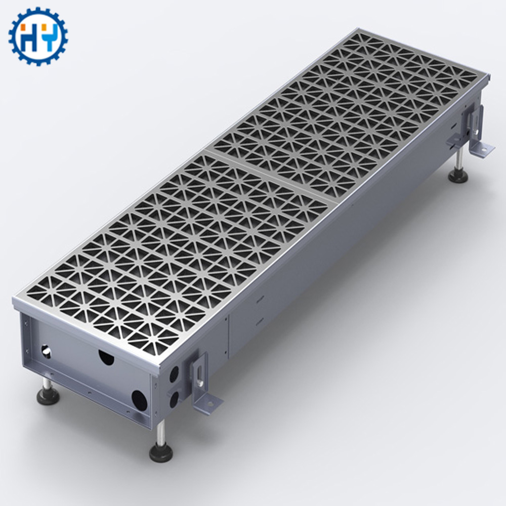 Shopping mall heating and cooling trench convector