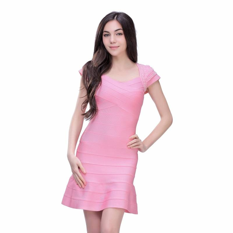 2016 high quality pink handmade beading cocktail dress with fishtail onlineave short sleeve
