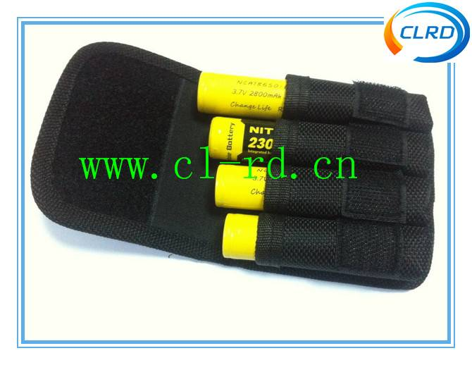 CLRD portable black nylon 18650 battery pouch for 4*18650 battery