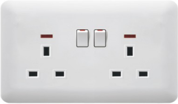 (K) Double 13A switched socket with neon