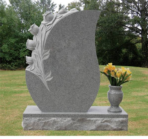 Beautiful 3D flower carving headstone granite monument