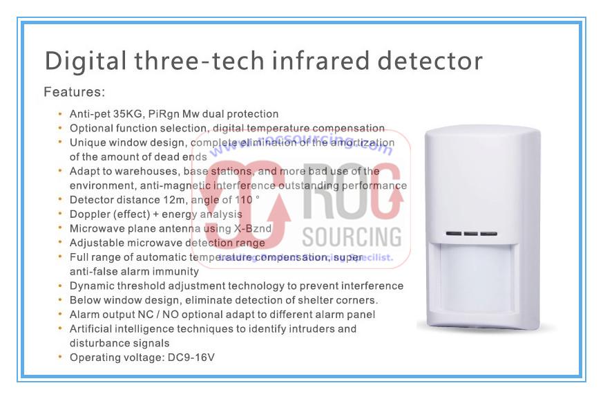 Digital Three-tech Pet immunity PIR motion detector Infrared Sensor for home alarm security