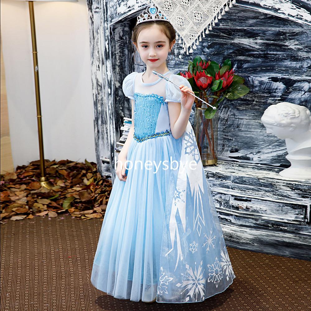 Frozen Elsa Costume for Kids Dress Up Elsa Christmas Party Children Dress