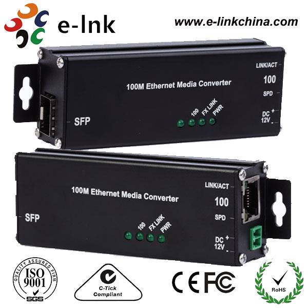 Hardened Microtype 100Base-TX to 100Base-FX SFP Ethernet Media Converter