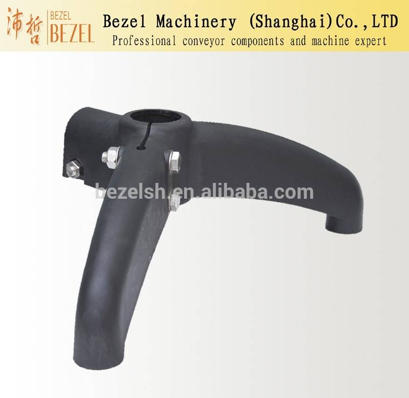 Plastic support base bipod for conveyor component