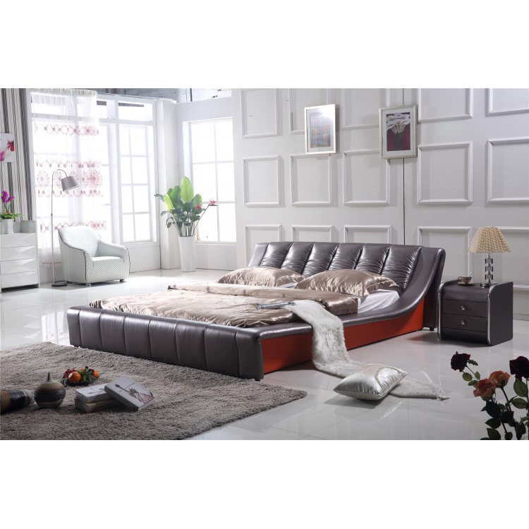Genuine leather modern bed 0414-818