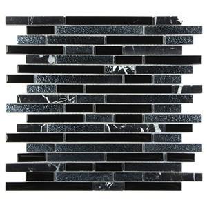 Glass stone mixed mosaic interlock electroplate black