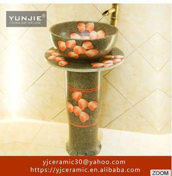 Jingdezhen art rectangle ceramic bathroom sink for dining room