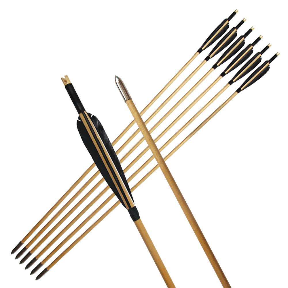 Indonesian Black Wooden Arrow 5 inches Turkey Feathers Hunter Traditional Bows and Arrows