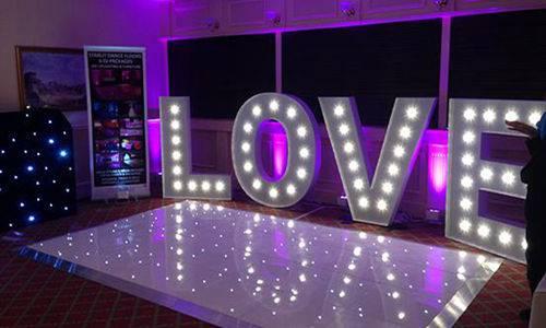 Love letter weeding led dance floor