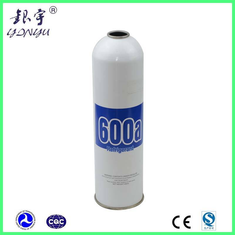 Gas refrigerant r134a on empty can for filling