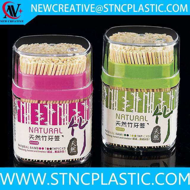 plastic toothpick holder with bamboo toothpicks