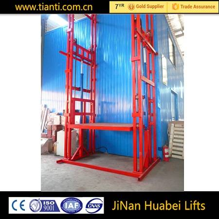 Fixed guide chain cargo goods lift platform