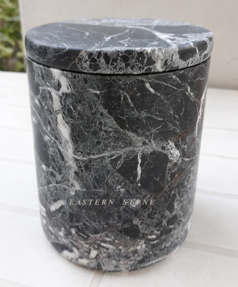 BLACK MARBLE CANDLE JARS
