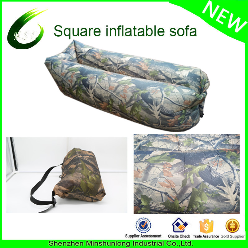 2017 Trending outdoor inflatable sofa camping inflatable lazy sleeping bag camouflage hangout