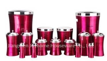 12pcs red slim kitchen set home storage box